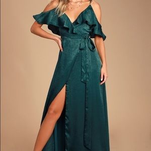 Emerald Green Satin Wrap Maxi Dress